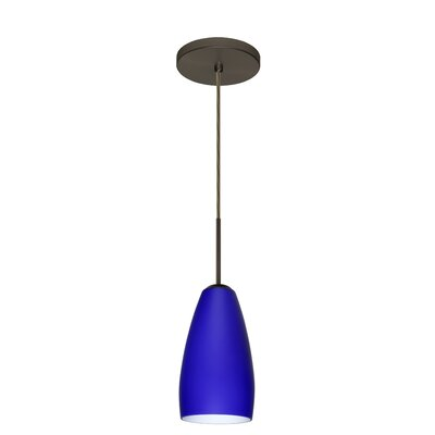 Chrissy 1-Light Mini Pendant Bulb Type: Xenon or Incandescent, Finish: Bronze, Glass Shade: Cobalt Blue Matte