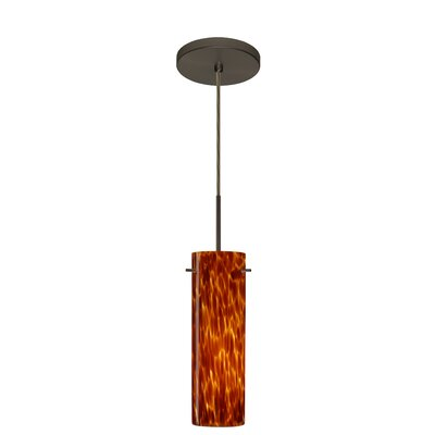 Copa 1-Light Mini Pendant Finish: Bronze, Glass Shade: Amber Cloud, Bulb Type: LED