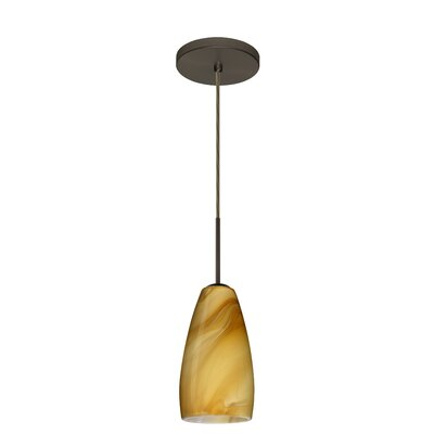 Chrissy 1-Light Pendant Finish: Bronze, Glass Shade: Honey, Bulb Type: Incandescent or Xenon