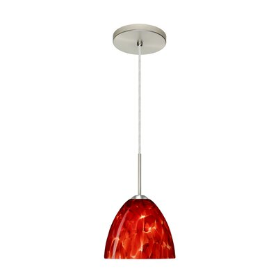 Sasha II 1-Light Mini Pendant Finish: Satin Nickel, Glass Shade: Garnet, Bulb Type: LED