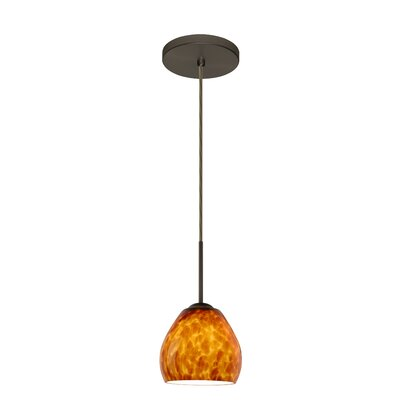 Bolla 1-Light Mini Pendant Finish: Bronze, Glass Shade: Amber Cloud, Bulb Type: LED