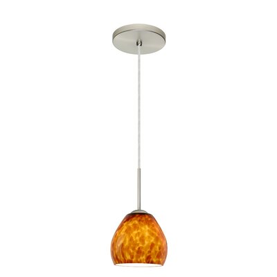 Bolla 1-Light Mini Pendant Bulb Type: Xenon or Incandescent, Finish: Satin Nickel, Glass Shade: Amber Cloud