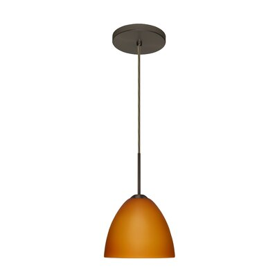 Sasha II 1-Light Mini Pendant Finish: Satin Nickel, Glass Shade: Halva, Bulb Type: Xenon or Incandescent