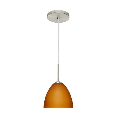 Sasha II 1-Light Mini Pendant Bulb Type: Incandescent, Finish: Satin Nickel, Glass Shade: Amber Matte
