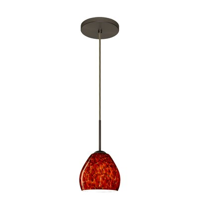 Bolla 1-Light Mini Pendant Finish: Bronze, Glass Shade: Garnet, Bulb Type: Incandescent or Xenon