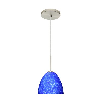 Sasha II 1-Light Mini Pendant Finish: Satin Nickel, Glass Shade: Blue Cloud, Bulb Type: LED