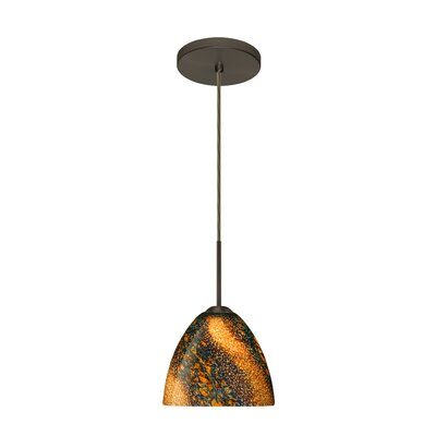Sasha II 1-Light Mini Pendant Bulb Type: Incandescent, Finish: Bronze, Glass Shade: Ceylon