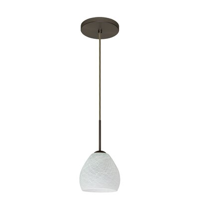 Bolla 1-Light Mini Pendant Bulb Type: Xenon or Incandescent, Finish: Bronze, Glass Shade: Cocoon