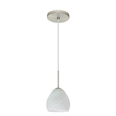 Bolla 1-Light Mini Pendant Bulb Type: Xenon or Incandescent, Finish: Satin Nickel, Glass Shade: Cocoon