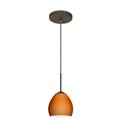 Bolla 1-Light Mini Pendant Finish: Bronze, Glass Shade: Amber Matte, Bulb Type: LED