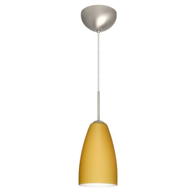 Riva 1 Light Pendant Finish: Satin Nickel, Glass Shade: Vanilla Matte, Bulb Type: LED