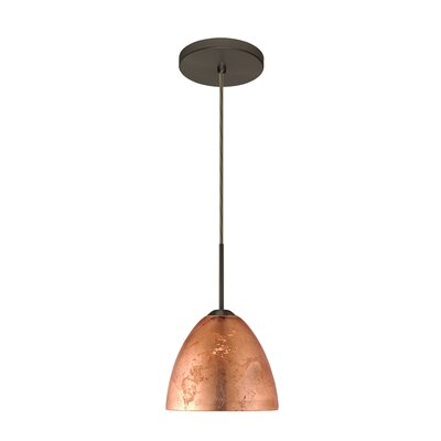 Sasha II 1-Light Mini Pendant Finish: Bronze, Glass Shade: Copper Foil, Bulb Type: Incandescent