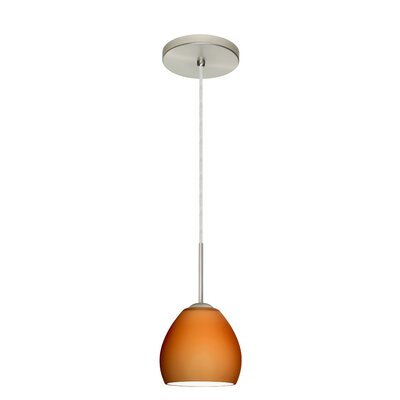 Bolla 1-Light Mini Pendant Finish: Satin Nickel, Glass Shade: Amber Matte, Bulb Type: LED