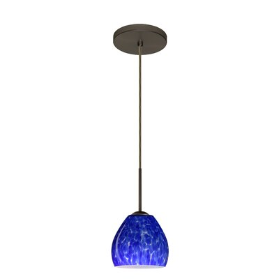 Bolla 1-Light Mini Pendant Finish: Bronze, Glass Shade: Blue Cloud, Bulb Type: LED