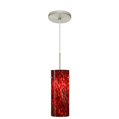 Stilo 1-Light Mini Pendant Finish: Satin Nickel, Glass Shade: Garnet, Bulb Type: LED