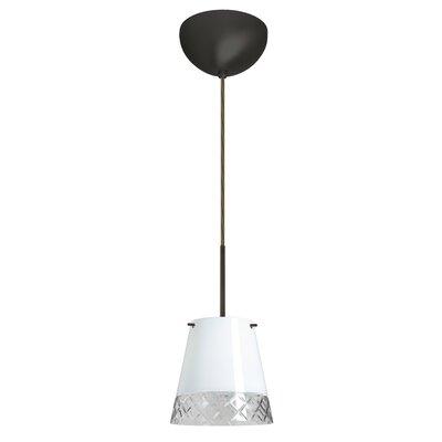 Amelia 1 Light Mini Pendant Finish: Bronze, Glass Shade: White Hand-cut, Bulb Type: Halogen