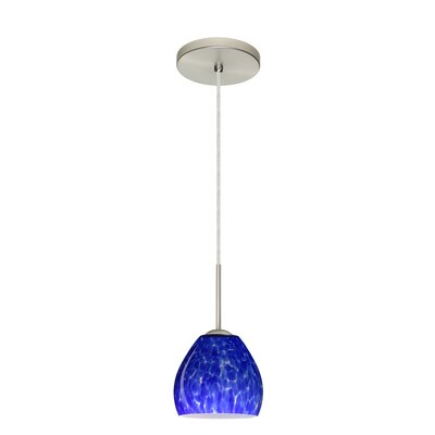 Bolla 1-Light Mini Pendant Finish: Satin Nickel, Glass Shade: Blue Cloud, Bulb Type: LED