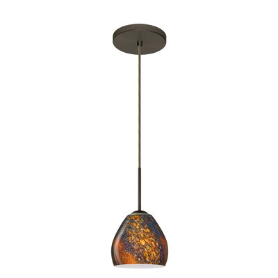 Bolla 1-Light Mini Pendant Finish: Bronze, Glass Shade: Ceylon, Bulb Type: LED