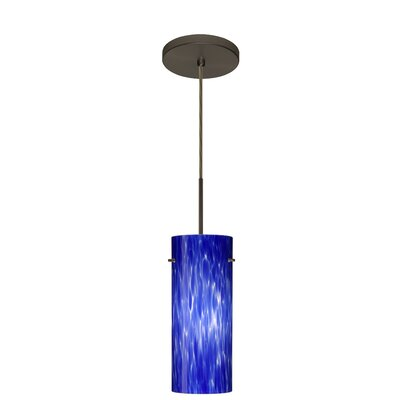 Stilo 1-Light Mini Pendant Finish: Bronze, Glass Shade: Blue Cloud, Bulb Type: Incandescent