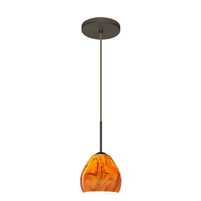 Bolla 1-Light Mini Pendant Bulb Type: Xenon or Incandescent, Finish: Bronze, Glass Shade: Habanero