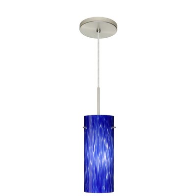 Stilo 1-Light Mini Pendant Finish: Satin Nickel, Glass Shade: Blue Cloud, Bulb Type: LED