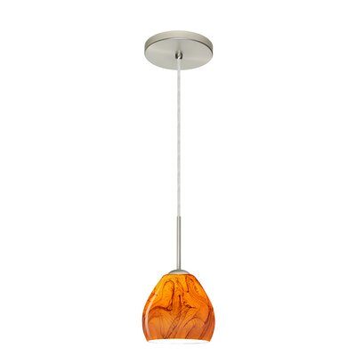 Bolla 1-Light Mini Pendant Bulb Type: Xenon or Incandescent, Finish: Satin Nickel, Glass Shade: Habanero