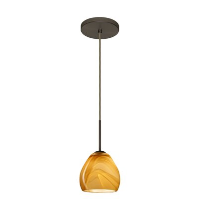 Bolla 1-Light Mini Pendant Finish: Bronze, Glass Shade: Honey, Bulb Type: LED