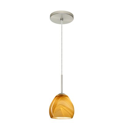 Bolla 1-Light Mini Pendant Finish: Satin Nickel, Glass Shade: Honey, Bulb Type: LED