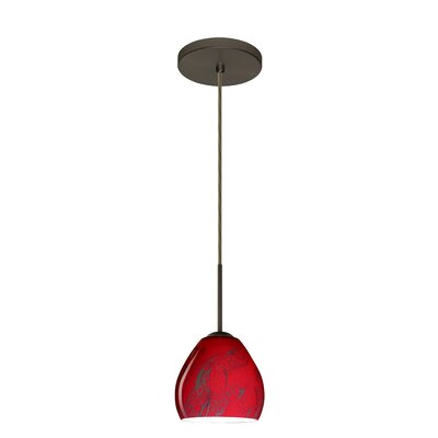 Bolla 1-Light Mini Pendant Finish: Bronze, Glass Shade: Magma, Bulb Type: LED