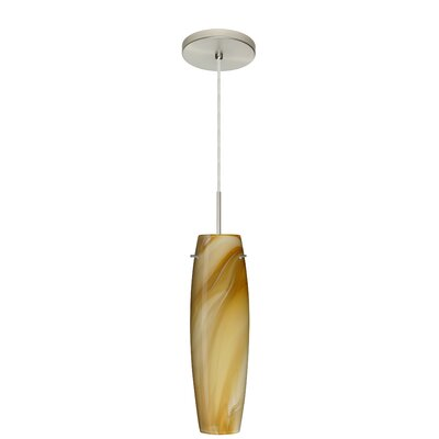 Tutu Pendant Bulb Type: Incandescent, Finish: Satin Nickel, Glass Shade: Honey