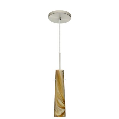 Camino 1-Light Pendant Finish: Satin Nickel, Glass Shade: Honey, Bulb Type: Incandescent or Xenon