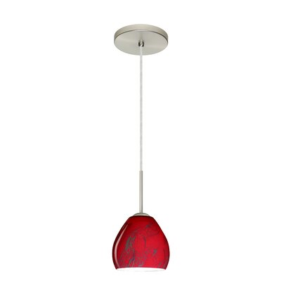 Bolla 1-Light Mini Pendant Bulb Type: Xenon or Incandescent, Finish: Satin Nickel, Glass Shade: Magma