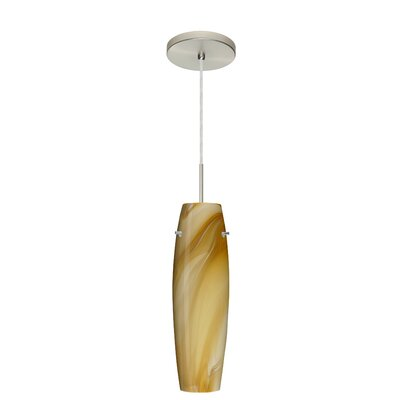 Suzi 1-Light Mini Pendant Finish: Satin Nickel, Glass Shade: Honey