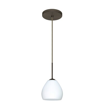 Bolla 1-Light Mini Pendant Bulb Type: Xenon or Incandescent, Finish: Bronze, Glass Shade: Opal Matte