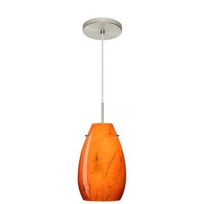 Pera 1-Light Pendant Finish: Satin Nickel, Glass Shade: Habanero, Bulb Type: LED
