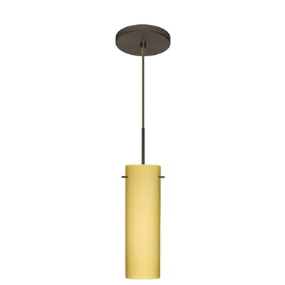 Copa 1-Light Mini Pendant Finish: Bronze, Glass Shade: Vanilla Matte, Bulb Type: LED