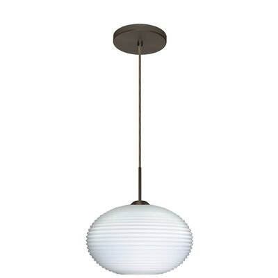 Pape 1-Light Globe Pendant Finish: Bronze, Glass Shade: Opal Ribbed, Bulb Type: Incandescent