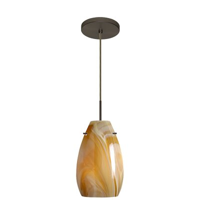 Pera 1-Light Pendant Finish: Bronze, Glass Shade: Honey