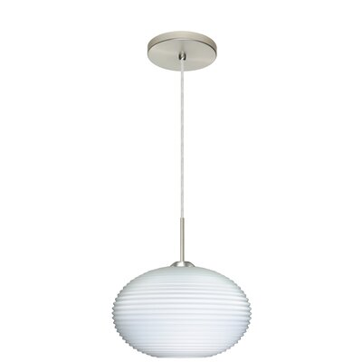 Pape 1-Light Globe Pendant Finish: Satin Nickel, Glass Shade: Opal Ribbed, Bulb Type: LED