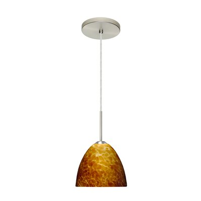 Sasha II 1-Light Mini Pendant Finish: Satin Nickel, Glass Shade: Amber Cloud, Bulb Type: LED