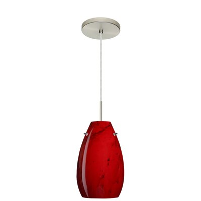 Pera 1-Light Pendant Finish: Satin Nickel, Glass Shade: Magma, Bulb Type: LED