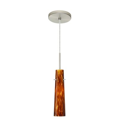 Camino 1-Light Pendant Finish: Satin Nickel, Glass Shade: Amber Cloud, Bulb Type: Incandescent or Xenon