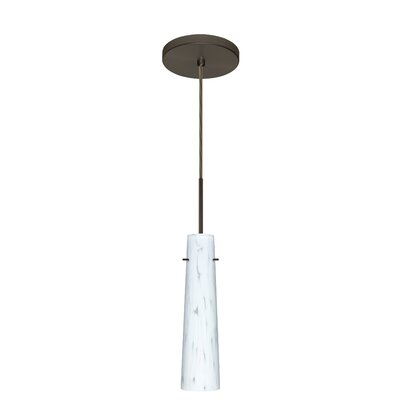 Camino 1-Light Pendant Finish: Bronze, Glass Shade: Carrera, Bulb Type: Incandescent or Xenon