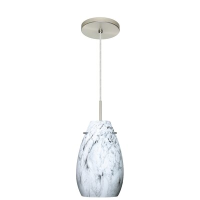 Pera 1-Light Pendant Finish: Satin Nickel, Glass Shade: Marble Grigio