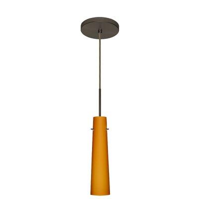 Camino 1-Light Pendant Finish: Bronze, Glass Shade: Amber Matte, Bulb Type: Incandescent or Xenon