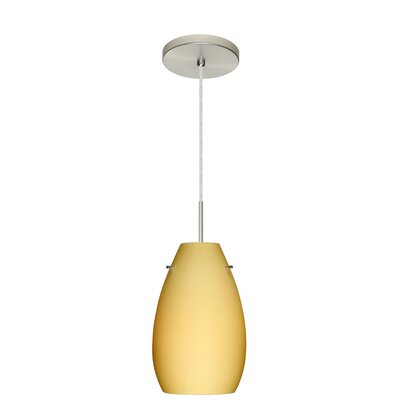 Pera 1-Light Pendant Finish: Satin Nickel, Glass Shade: Vanilla Matte, Bulb Type: LED