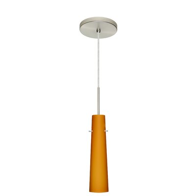 Camino 1-Light Pendant Finish: Satin Nickel, Glass Shade: Amber Matte, Bulb Type: Incandescent or Xenon