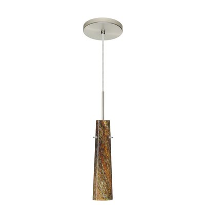 Camino 1-Light Pendant Finish: Satin Nickel, Glass Shade: Ceylon, Bulb Type: Incandescent or Xenon