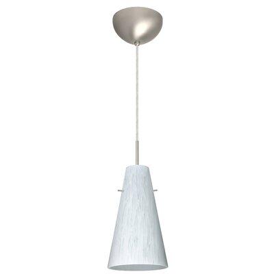 Cierro 1 Light Pendant Finish: Satin Nickel, Glass Shade: Carrera