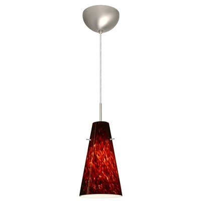 Cierro 1 Light Pendant Finish: Satin Nickel, Glass Shade: Garnet